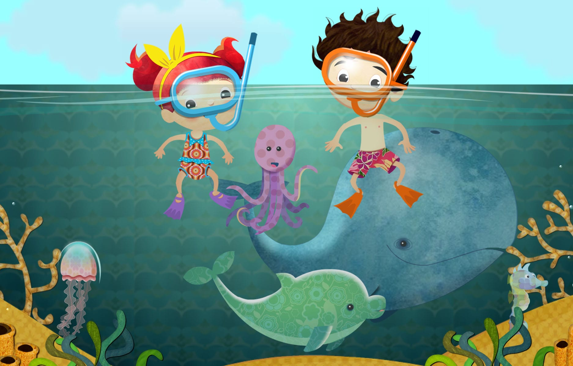 Under the sea scene from Peg and Pog a Language Learning App for Kids